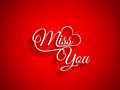 Beautiful text design of miss you on red color bac vector illustration background Stock Image