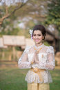 Beautiful Thai girl in Thai traditional costume Royalty Free Stock Photo