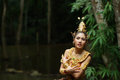 Beautiful thai lady in thai traditional drama dress posing the forest greenery the background model is ethnicity Royalty Free Stock Image