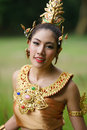 Beautiful thai lady in thai traditional drama dress posing the forest greenery the background model is ethnicity Royalty Free Stock Photos