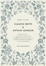 Wedding thanks invitation. Beautiful realistic flowers heliotrope card. Frame Petunia. Vector engraving victorian Illustration