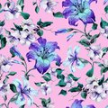Beautiful tiger lilies on twigs on pink background. Seamless floral pattern in vivid blue, purple colors. Watercolor painting. Royalty Free Stock Photo