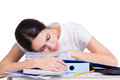 Beautiful tired business woman sleeping Royalty Free Stock Photo