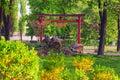Beautiful Torii gates in Kyoto Park japanese garden Royalty Free Stock Photo