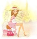 Beautiful tourist travels around the world illustration Stock Photography