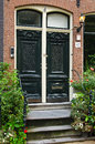Beautiful townhouse entrance in amsterdam netherlands Stock Photos