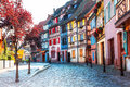 Beautiful towns of France - Colmar, with colourful half-timbered Royalty Free Stock Photo