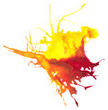 Beautiful traced vector watercolor splatter stain of yellow and red paint Stock Images