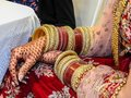 Traditional jewelry, henna and dress of just married east Indian woman Royalty Free Stock Photo