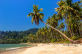 Beautiful tranquil lonely beach of a beautiful lagoon tropical paradise ideal for relaxation and romantic vacation Royalty Free Stock Photography