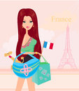 Beautiful travel girl in paris illustration Stock Images