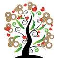 Beautiful tree of hearts Stock Photos