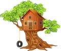 Beautiful tree house cartoon Royalty Free Stock Photo