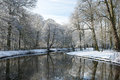 Beautiful trees covered snow reflecting still water winter netherlands Royalty Free Stock Photos