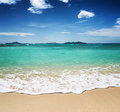Beautiful tropical beach and blue sky Royalty Free Stock Images