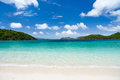 Beautiful tropical beach at caribbean with white sand turquoise ocean water and blue sky st john us virgin islands in Stock Photography