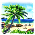 Beautiful tropical beach with palm tree, seascape panorama, watercolor illustration Royalty Free Stock Photo