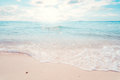 Beautiful tropical the beach seascape with sunlight in summer. Royalty Free Stock Photo