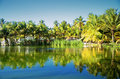 Beautiful tropical garden with lake in carribean resort, Dominic Royalty Free Stock Photo
