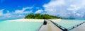 Beautiful tropical island panorama view at Maldives