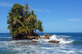 Beautiful tropical islet lush vegetation wave crashing reef Stock Photography
