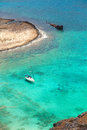 Beautiful tropical lagoon with yacht and pirate ship gramvousa island greece Stock Photos