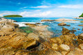 Beautiful tropical seascape rocky seacoast phuket island thailand Stock Photo