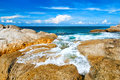 Beautiful tropical seascape rocky seacoast phuket island thailand Stock Photography