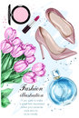 Beautiful tulip flowers with cute parfum, stylish shoes and cosmetics. Royalty Free Stock Photo