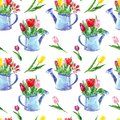 Beautiful tulips bouquet seamless pattern on white background. Colorful flowers in a rustic watering can. Spring floral print.