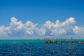 The beautiful turquoise and blue waters of the gulf coast side o florida keys on a perfect day with puffy clouds Royalty Free Stock Photography
