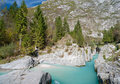 Beautiful turquoise mountain river. Soca Royalty Free Stock Photography