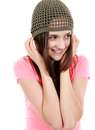 Beautiful tween girl pretty preteen in knit hat looking away from camera Royalty Free Stock Image