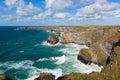 Beautiful UK coast Bedruthan Steps Cornwall England Cornish north coastline near Newquay on a beautiful sunny blue sky day Royalty Free Stock Photo