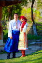 Beautiful ukrainian couple dressed in traditional costumes young Stock Image