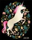 Beautiful unicorn Vector magic print background for t-shirt design.