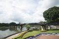 Beautiful vacation holiday travel throughout thailand bridge on the river kwai kanchanaburi war builds upon Royalty Free Stock Photo