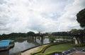 Beautiful vacation holiday travel throughout thailand bridge on the river kwai kanchanaburi war builds upon Royalty Free Stock Images