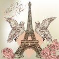 Beautiful valentine card with detailed vector eiffel tower rose vintage for design Royalty Free Stock Images