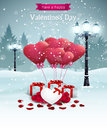Beautiful valentines day card width street lights heart shape balloons and presents winter background Stock Image
