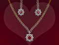 Beautiful valentines gift of a jewelry set ruby and diamond Stock Photos