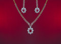Beautiful valentines gift of a jewelry set ruby and diamond Royalty Free Stock Images