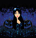 Beautiful vampire on halloween background illustration Stock Image
