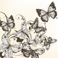Beautiful vector background with monochromic  butterflies Royalty Free Stock Photography