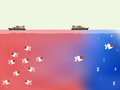 Beautiful vector of blue ocean and red ocean business strategy concept