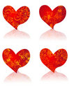 Beautiful vector hearts with floral ornament Stock Photos