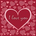 beautiful vector red card with hearts and letter word inscription I love you Royalty Free Stock Photo