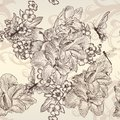 Beautiful vector seamless wallpaper with flowers in vintage styl Royalty Free Stock Photo