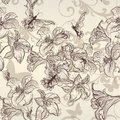 Beautiful vector seamless wallpaper with lily in vintage style pattern flowers Stock Images