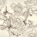 Beautiful vector seamless wallpaper with roses in vintage style pattern flowers Royalty Free Stock Photos